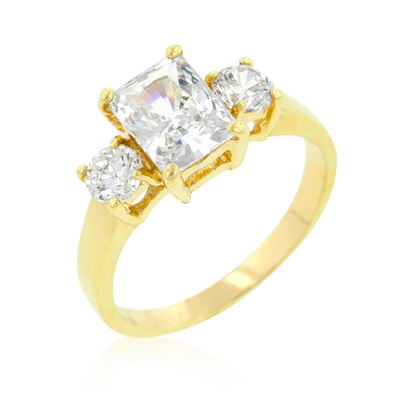 Triplet Radiant Round Cubic Zirconia Ring