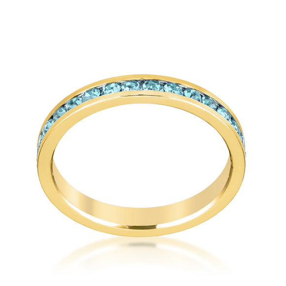 Stylish Stackables Aqua Crystal Gold Ring