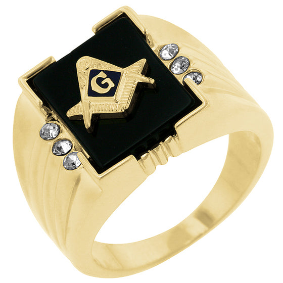 Onyx Masonic Mens Ring