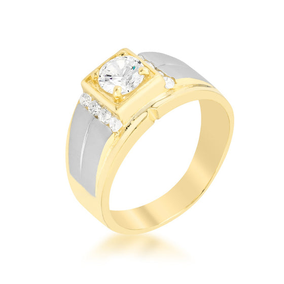Cubic Zirconia Two-Tone Men's Ring