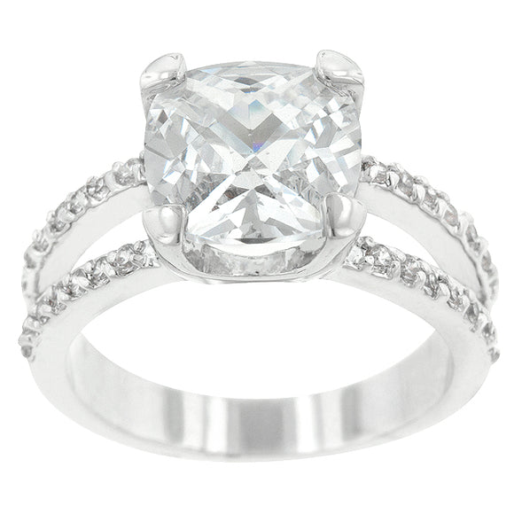 Double Band Cubic Zirconia Engagement Ring