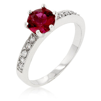 Petite Garnet Red Engagement Ring