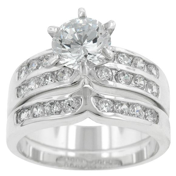Formal Silvertone Engagement Set