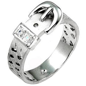 Silvertone Buckle Ring