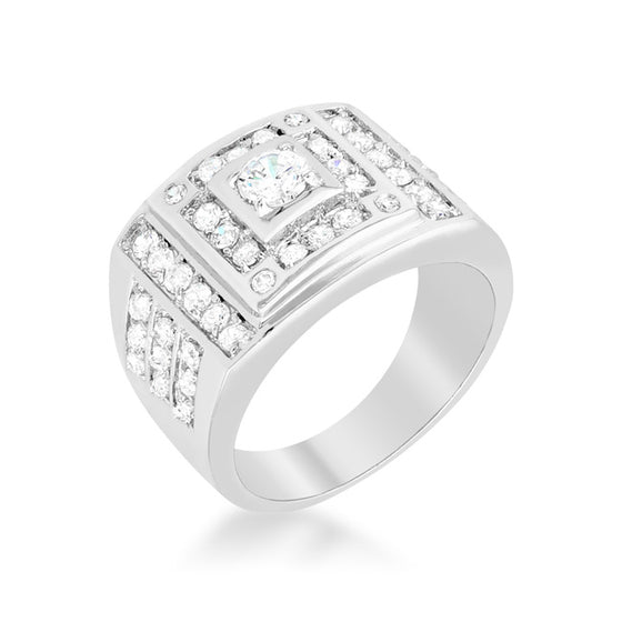 Geometric Cubic Zirconia Ring