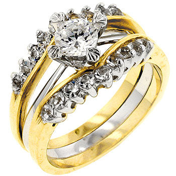 Two Tone Cubic Zirconia Anniversary Ring Set