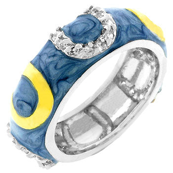 Blue Enamel Horseshoe Ring