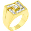 Men's Pave Shiny Goldtone Ring