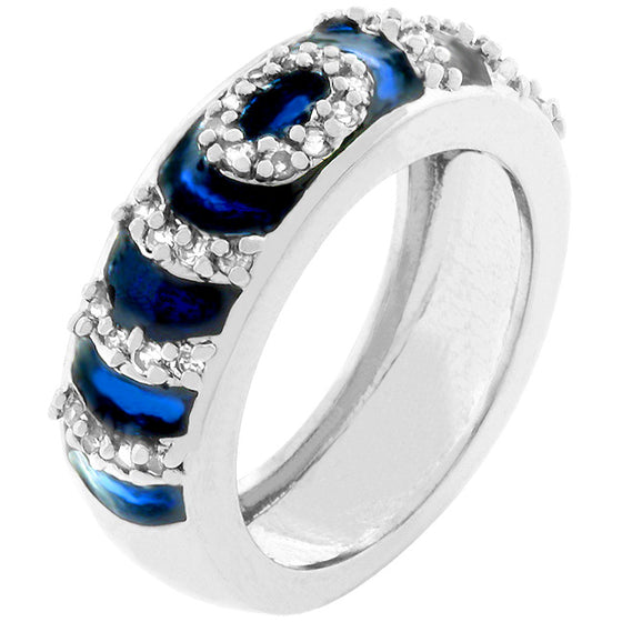 Navy Blue Enamel Ripple Ring