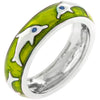 Green Apple Dolphin Enamel Ring