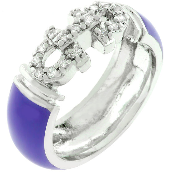 Purple Enamel Cubic Zirconia Ring