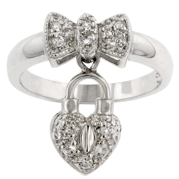 Heart Lock Ribbon Ring