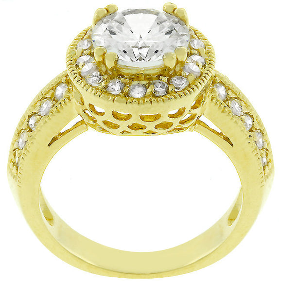Pave Halo Vintage Crown Ring