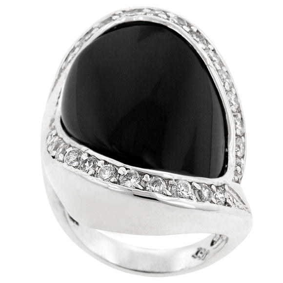 Pave Trim Onyx Ring