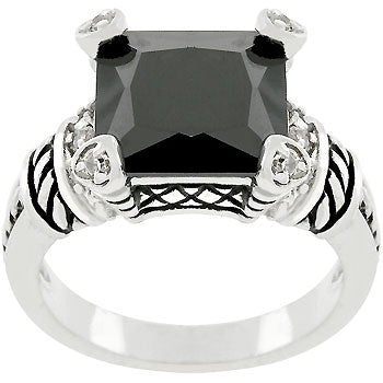 Jet Black Eyes Antique Ring