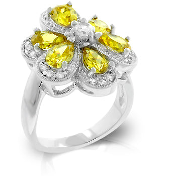 Yellow Cubic Zirconia Daisy Ring