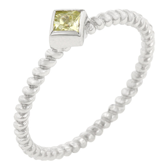 Twisted Petite Peridot Solitaire Ring