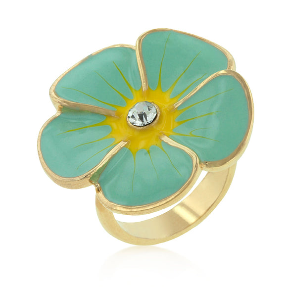 Light Blue Enamel Large Floral Ring