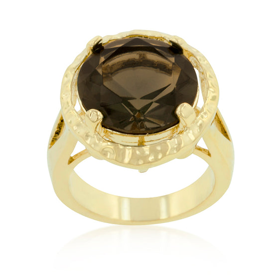 Brown Cubic Zirconia Organic Ring