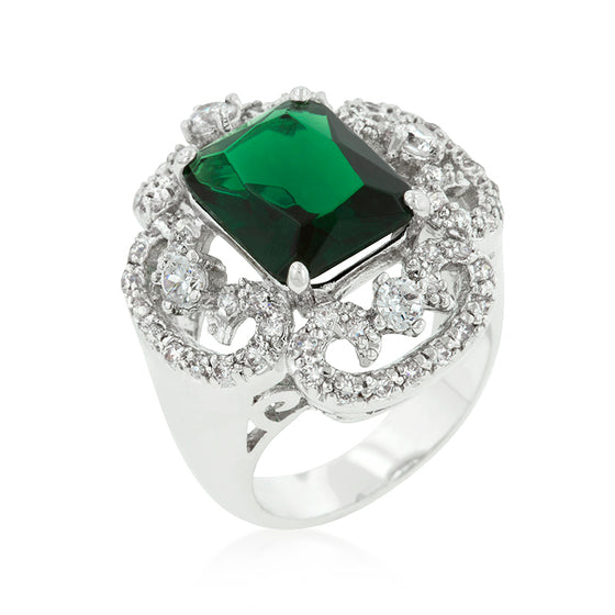 Silvertone Green Cocktail Ring