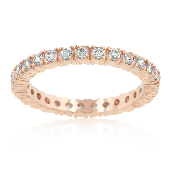 Rose Gold Finish Cubic Zirconia Eternity Band