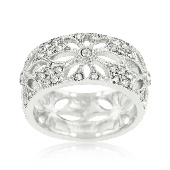 Crystal Floral Filigree Band