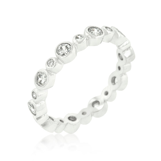 Alternating Bezel Linked Cubic Zirconia Eternity Band