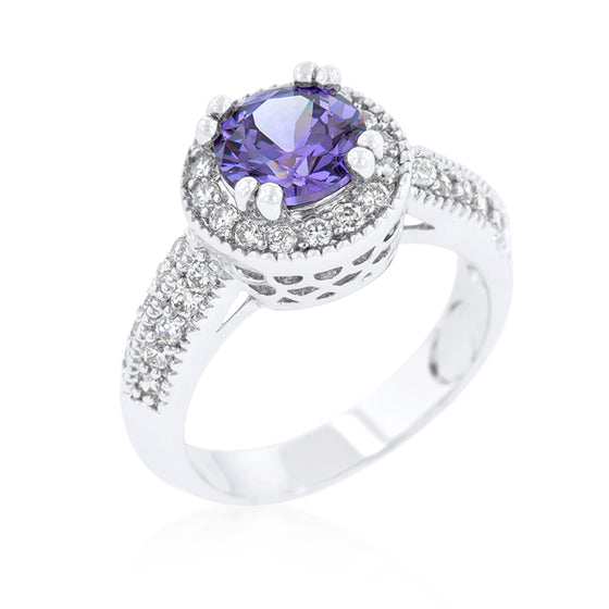 Dark Purple Halo Engagement Ring