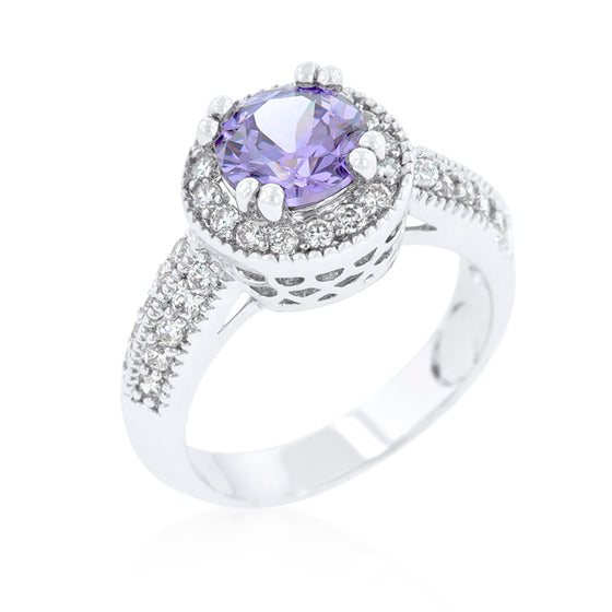 Lavender Halo Engagement Ring