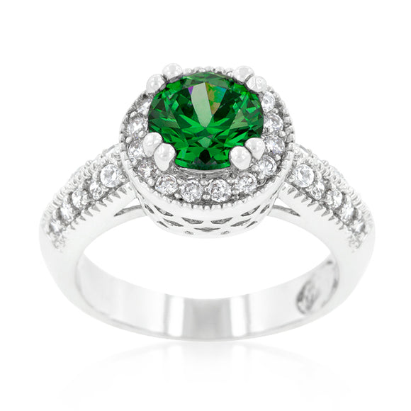 Emerald Halo Engagement Ring
