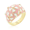 Floral Pink and White Enamel Ring