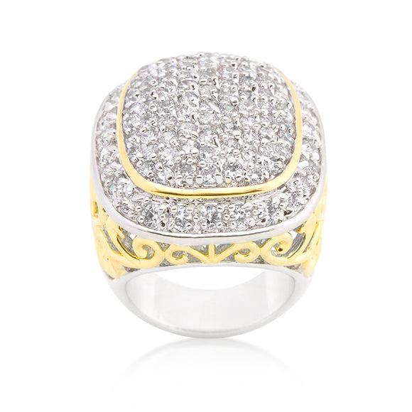 Cubic Zirconia Cushion Pave Filigree Cocktail Ring