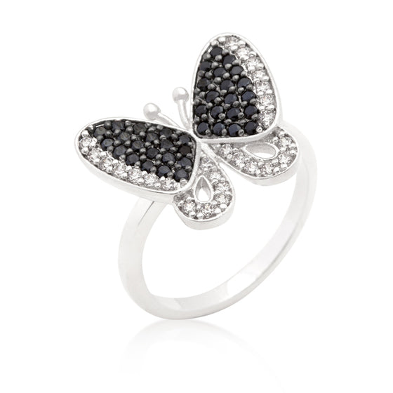 Black and White Cubic Zirconia Butterfly Ring