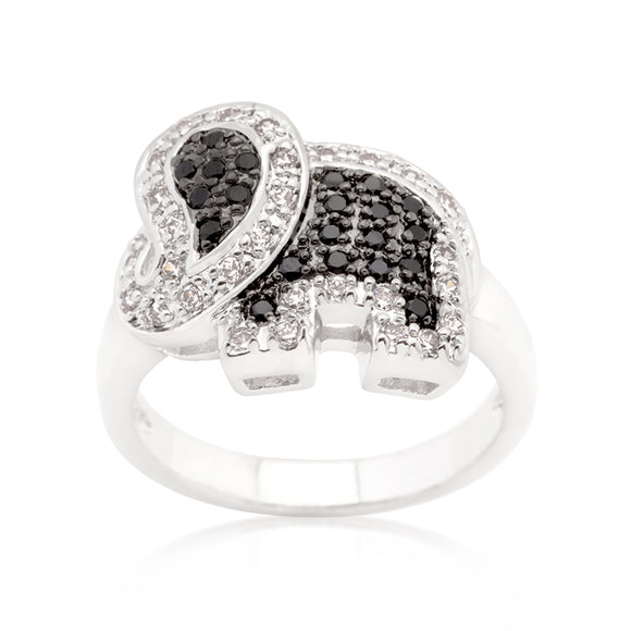 Black and White Cubic Zirconia Elephant Ring