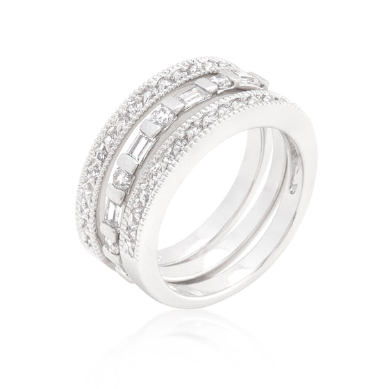 Simple Cubic Zirconia Ring Set