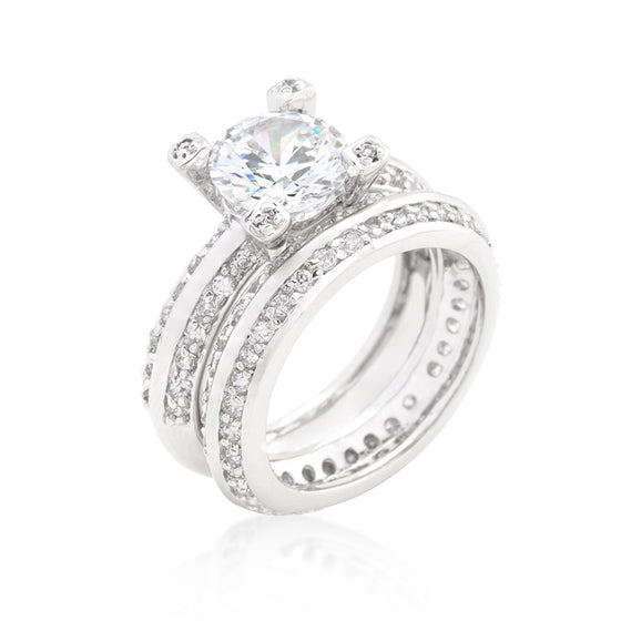 Cubic Zirconia Round Cut Pave Ring Set