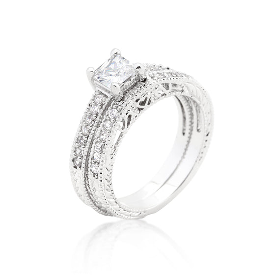Princess Cut Filigree Bridal Ring Set