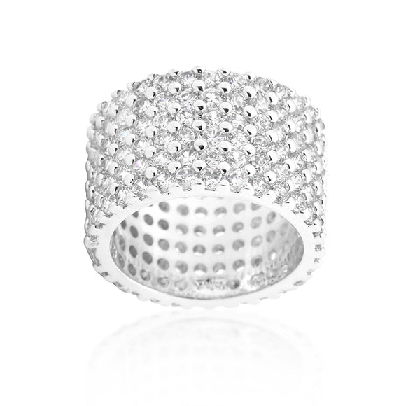 Silvertone Finishd Wide Pave Cubic Zirconia Ring