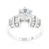 Tapered Baguette Cubic Zirconia Engagement Ring
