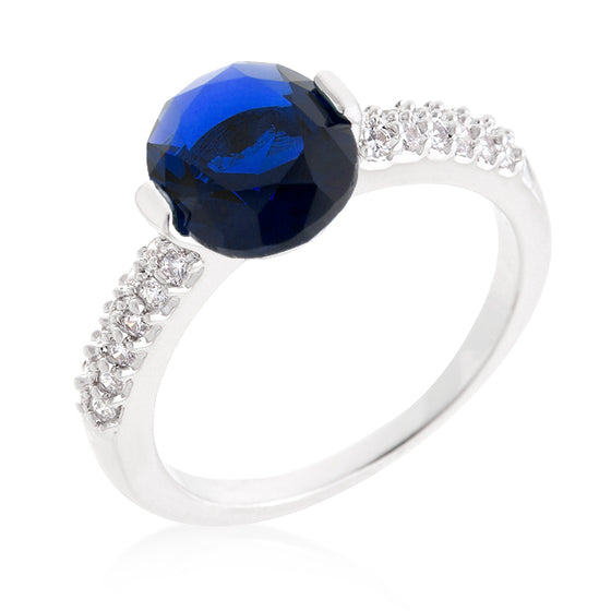 Blue Oval Cubic Zirconia Engagement Ring