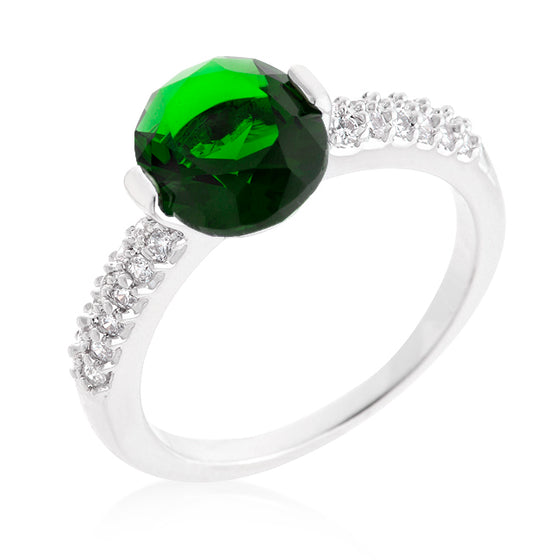 Green Oval Cubic Zirconia Engagement Ring