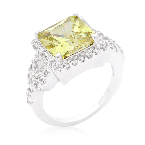Halo Style Princess Cut Peridot Cocktail Ring