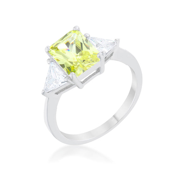 Classic Peridot Rhodium Engagement Ring