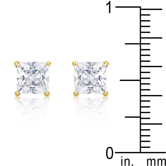 6 mm Princess Cut Studs