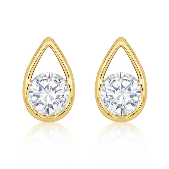 Golden Tear Drop Stud Earrings