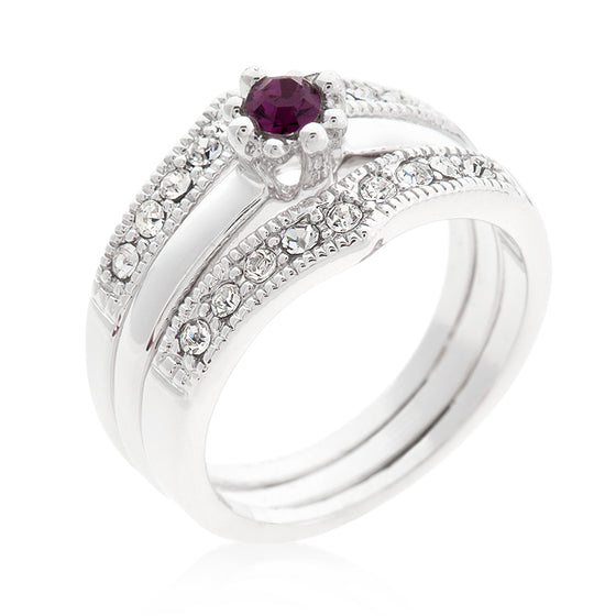 Purple and Clear Engagement Ring