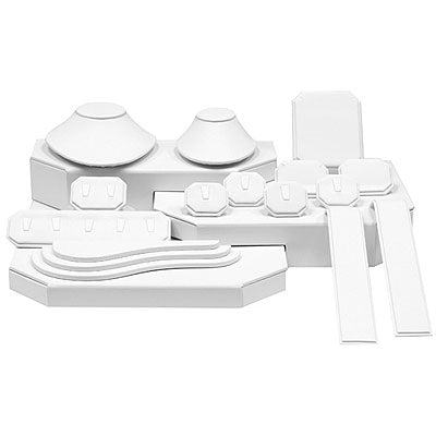 White Vinyl Portable Jewelry Display Set