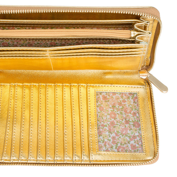 Martha Gold Faux Leather Clutch