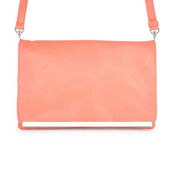 Martha Coral Leather Purse Clutch With Silver Hardware