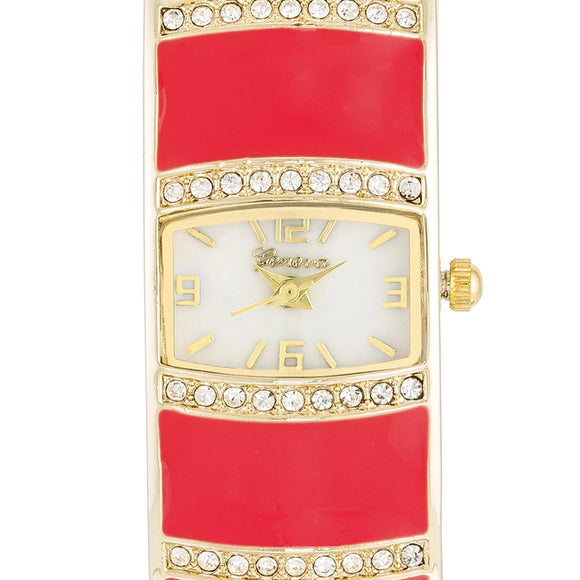 Gold Cuff Watch With Crystals - Pink